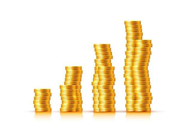 Molte monete su uno sfondo trasparente. illustrazione vettoriale