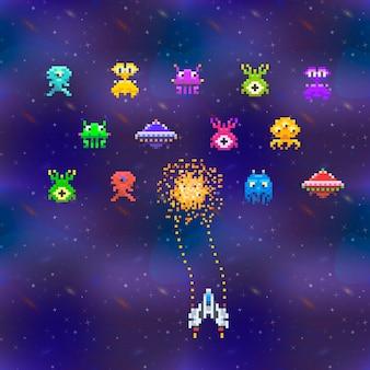 Un sacco di simpatici invasori spaziali in stile pixel art su sfondo vintage dello spazio profondo