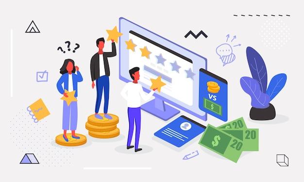 Molte persone danno un feedback a cinque stelle sul computer.