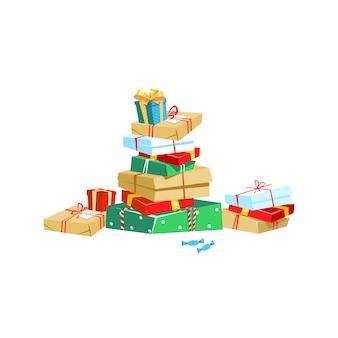 Tanti regali in confezione colorata con nastri in stile cartone animato.