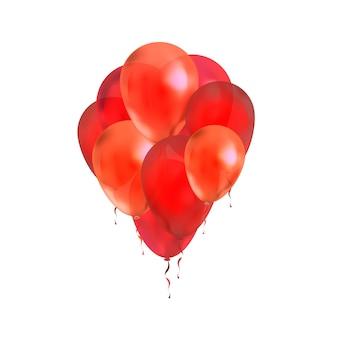 Lotto di palloncini rossi isolati su bianco