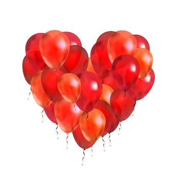 Un sacco di palloncini rossi a forma di cornice rotonda