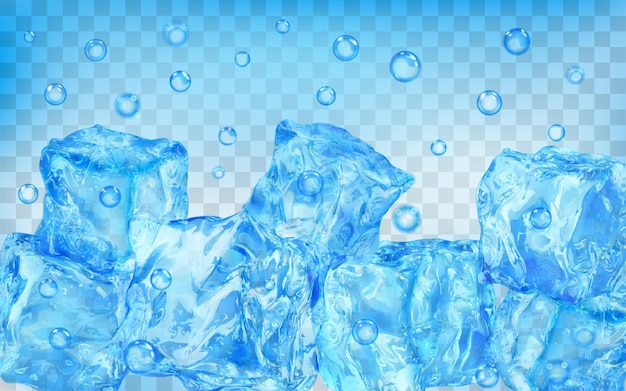 Un sacco di cubetti di ghiaccio blu chiaro traslucidi e bolle d'aria sott'acqua su sfondo trasparente. trasparenza solo in formato vettoriale