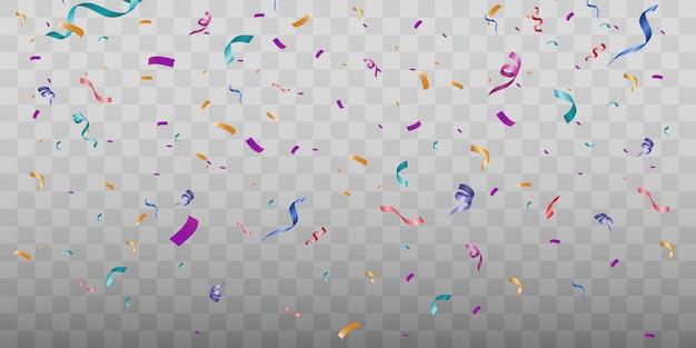 Un sacco di piccoli coriandoli colorati e nastri su sfondo trasparente.