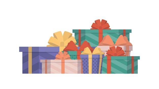 Tanti regali. scatole regalo multicolori. concetto sul tema del nuovo anno, compleanno e san valentino. vettore.
