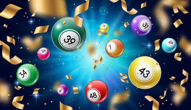 Palline della lotteria bingo 3d, lotto o giochi d'azzardo keno