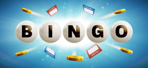 Sfere di lotteria isolato su sfondo incandescente blu con i biglietti a