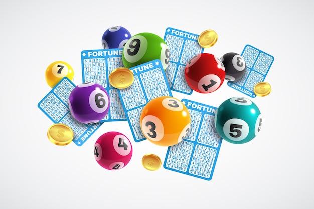 Bandiera della lotteria. biglietti della lotteria realistici e palline da disegno con numeri, vincita istantanea fortunata, gioco del lotto, concetto di vettore di gioco d'azzardo per il tempo libero di internet di jackpot