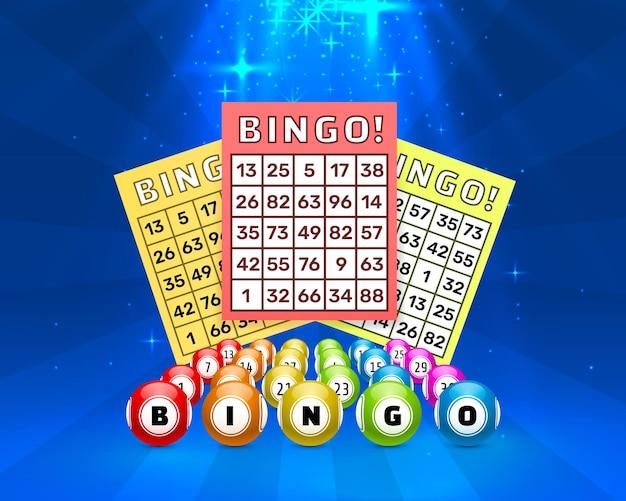Sfere del gioco del bingo della lotteria con le carte di numero