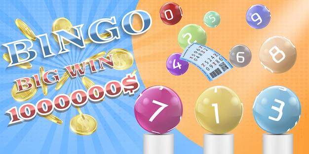 Manifesto del gioco di bingo della lotteria, illustrazione del modello dell'insegna