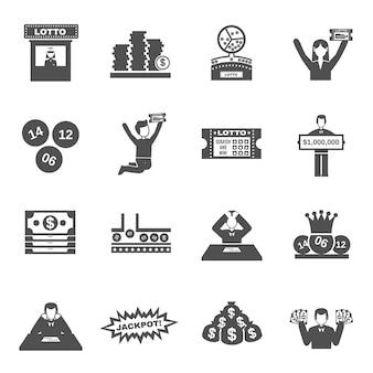 Set di icone della lotteria Vettore Premium