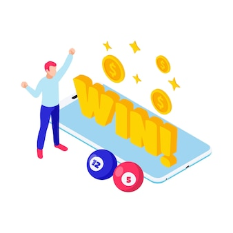 Illustrazione isometrica della lotteria con carattere di palline da bingo vincitori e smartphone