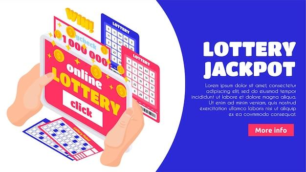 Pagina di destinazione isometrica del jackpot della lotteria con mani umane in possesso di biglietti del lotto e busta paga per milioni di dollari