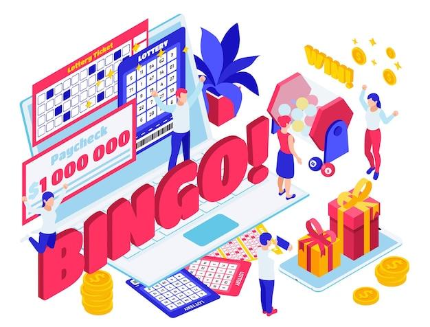 Illustrazione isometrica della composizione dei risultati del biglietto della lotteria del jackpot della lotteria