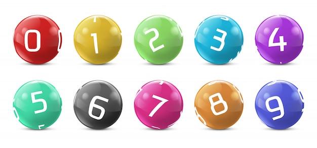 Palle colorate lotto con numeri. sfere di gioco del bingo della lotteria
