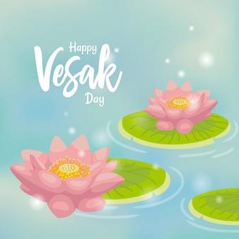 Saluto di giorno del vesak del fondo di lotus