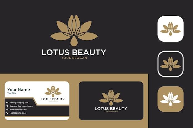 Disegno del logo e biglietto da visita dell'olio di bellezza del loto