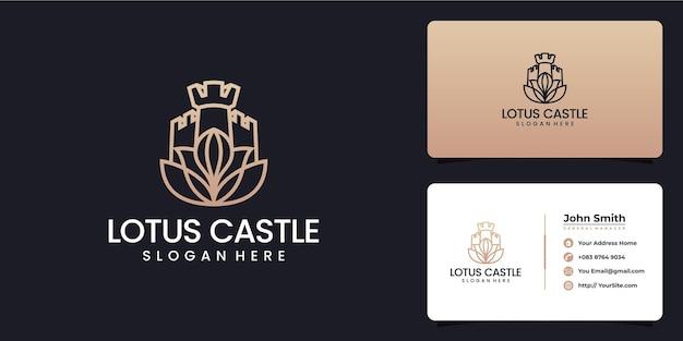 Combinazione logo loto e castello con biglietto da visita