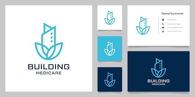 Modello di progettazione del logo del contorno della linea di appartamenti della costruzione del fiore di loto