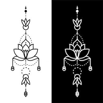 Tatuaggio geometrico fiore di loto