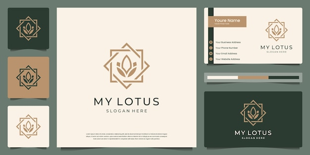 Stile di arte linea fiore di loto. i loghi possono essere utilizzati per spa, bellezza, salone, boutique. e biglietto da visita