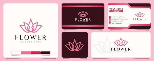 Salone di yoga di stile arte linea fiore di loto e spa equilibrio logo design e biglietto da visita