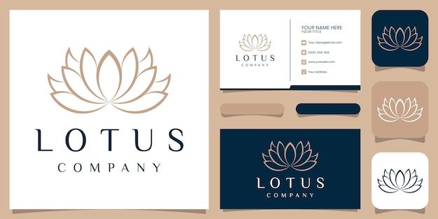 Design del logo del fiore di loto con stile art line.