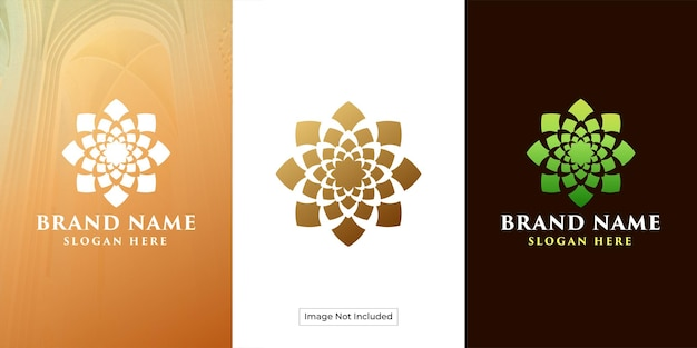Logo del fiore di loto con uno stile di ornamento circolare lussuoso ed esclusivo
