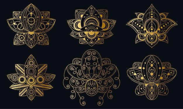 Fiore di loto con le illustrazioni lineari dell'ornamento geometrico messe. pacchetto di simboli sacri indiani
