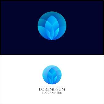 Modello di logo di loto e colore sfumato-1