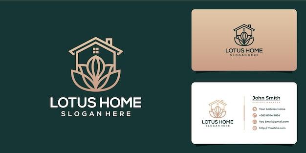 Design del logo e biglietto da visita di lusso per la casa lotus