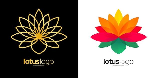Design del logo del loto con due opzioni di colore