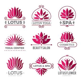 Logotipo di loto. fiori di simboli grafici botanici della natura per l'icona della decorazione del salone della stazione termale di bellezza.