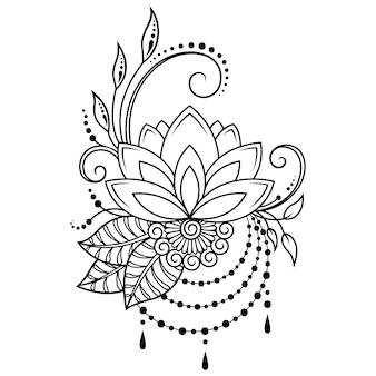 Fiore di loto mehndi. decorazione in stile orientale, indiano. ornamento di doodle. illustrazione di tiraggio della mano di contorno.