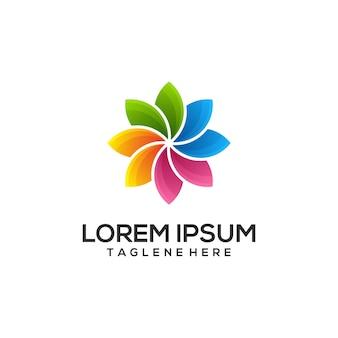 Logo colorato della natura del loto
