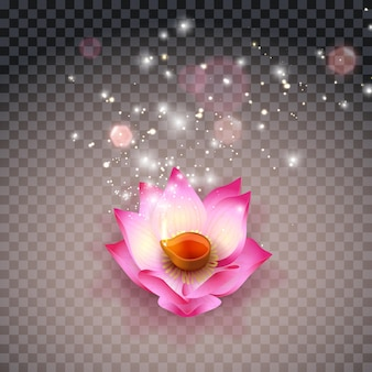 Lampada a olio di loto indiana. diwali festival lampade accese, bokeh e luce. candela fiore su sfondo trasparente. illustrazione di riserva di vettore