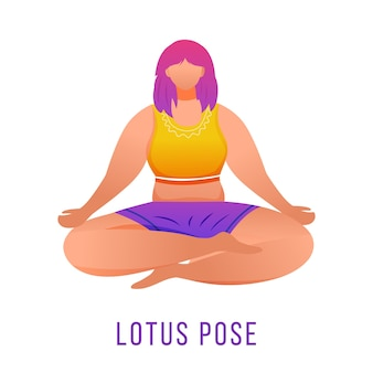 Illustrazione piana di posa del loto. padmasana. caucausian donna che fa yoga in abbigliamento sportivo arancione e viola. allenamento, fitness. esercizio fisico. personaggio dei cartoni animati isolato su priorità bassa bianca