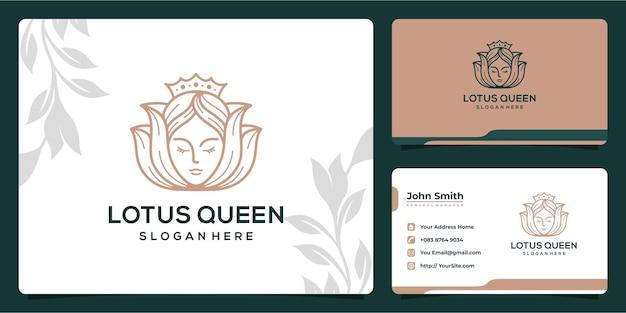 Design del logo monolinea di lusso della regina del loto e biglietto da visita