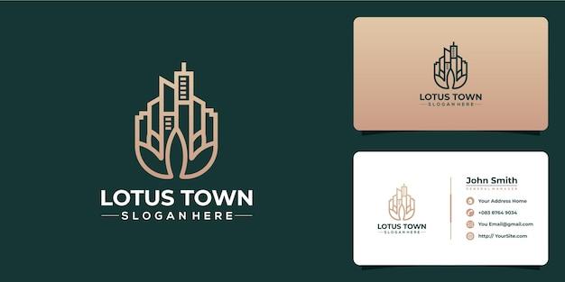 Design del logo di lusso della città di loto e modello di biglietto da visita