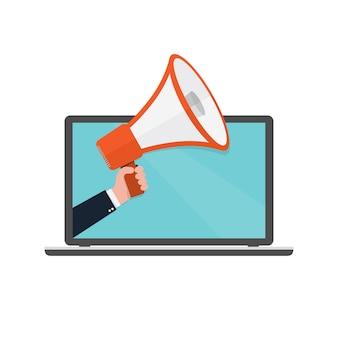 Altoparlante o megafono nella mano maschio che esce dallo schermo del computer portatile. megafono rosso e laptop, su sfondo bianco. illustrazione.