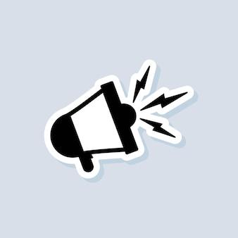 Adesivo per altoparlante o megafono. avviso, icona di annuncio. vettore su sfondo isolato. env 10.