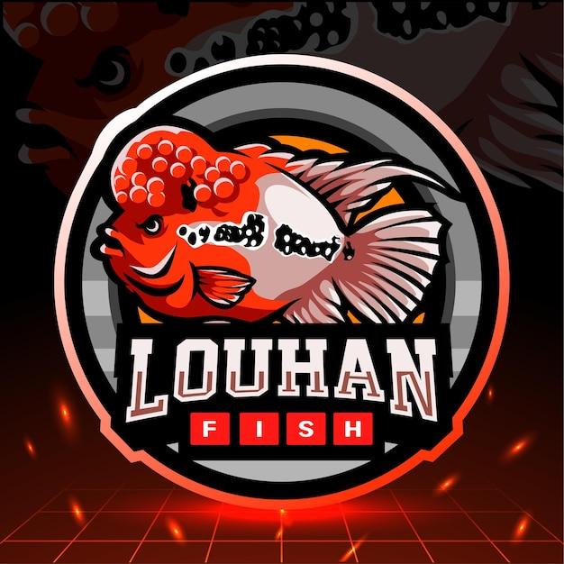 Mascotte di pesce louhan. design del logo esport
