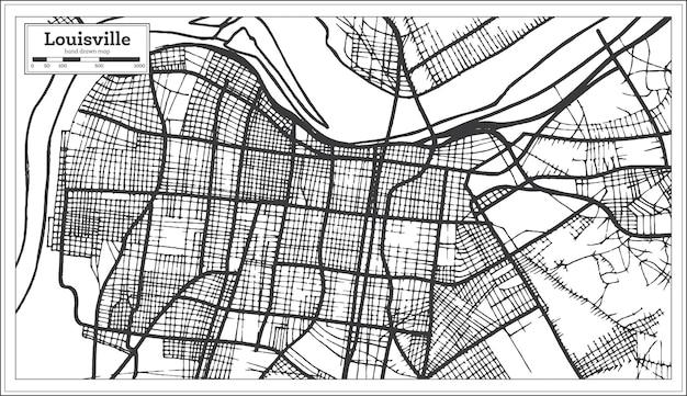 Mappa della città di louisville kentucky usa in stile retrò. mappa di contorno. illustrazione di vettore.