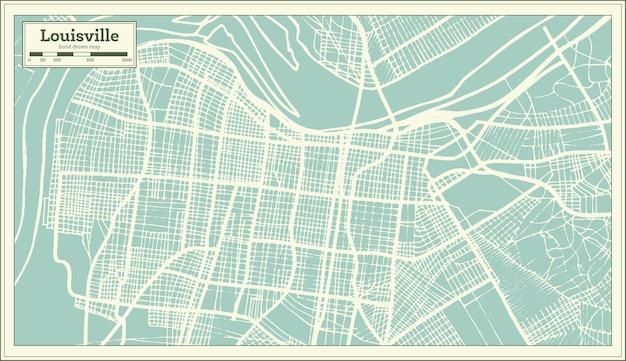 Mappa della città di louisville kentucky usa in stile retrò. mappa di contorno.