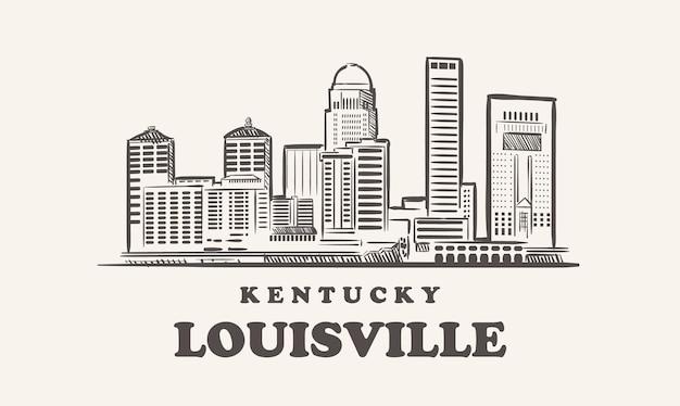 Schizzo disegnato di louisville skyline kentucky