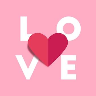 Amore alfabeto e cuore rosso origami carta piega