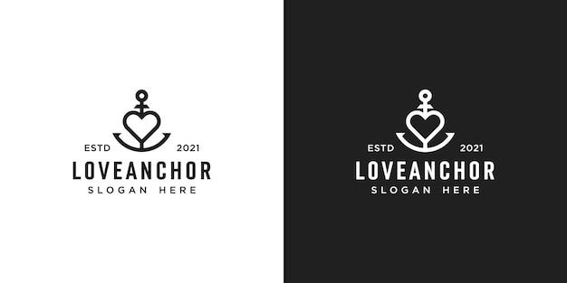 Love anchor design del logo della foca marina nautica
