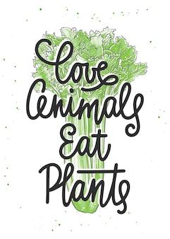 Amo gli animali mangiano piante calligrafia monolinea con schizzo di sedano lettere scritte a mano