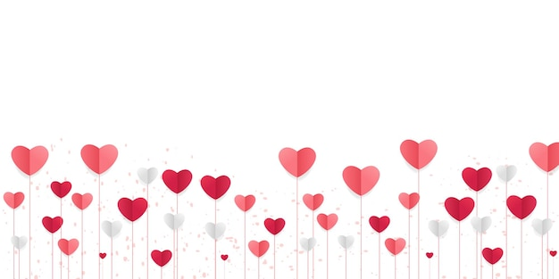 Sfondo di amore con forme di cuore. banner orizzontale con cuori volanti, mestiere di carta tagliata.