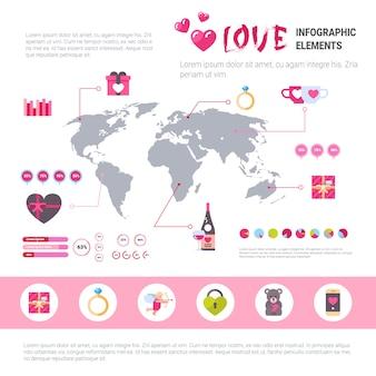 Insieme di infographic dell'insegna di amore delle icone del modello sopra fondo rosa, concetto di giorno di biglietti di s. valentino